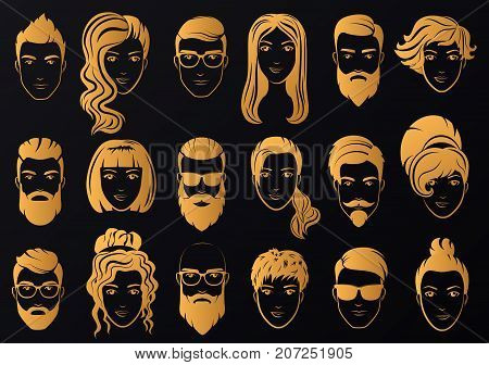 Vector golden logo of luxury men with stylish beards and women with beautiful hair logos