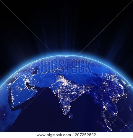 India city lights at night. Elements of this image furnished by NASA 3d rendering