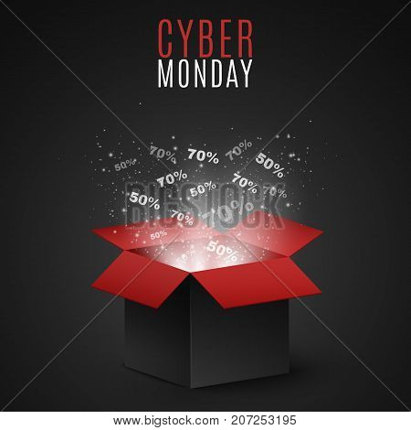 Black and red magic box for sale on cyber Monday. Big discounts fly out of the box. Flying light particles and dust on a dark background. Special offer. Super sale. Vector illustration