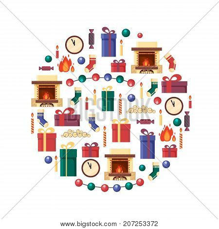Christmas elements in circle. Gifts, clock, candle, fireplace, socks, wood, candy. Colorful festive objects for greeting card in flat style. Xmas home decoration - stock vector illustration.