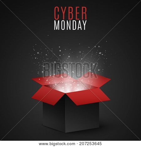 Black and red magic box for sale on cyber Monday. Flying light particles and dust on a dark background. Special offer. Super sale. Vector illustration