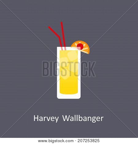 Harvey Wallbanger cocktail icon on dark background in flat style. Vector illustration