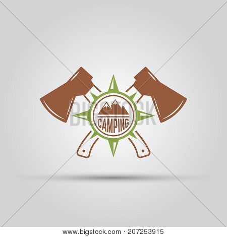 Camping isolated vector label two crossed hatchets and compass