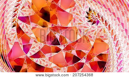 Fiery inverted stained glass computer generated abstract background 3D rendering