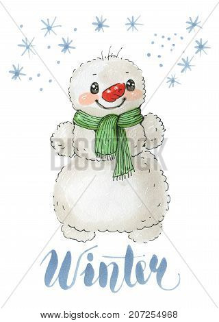 Illustration to a winter holidays with the snowman in a warm scarf isolated on a white background. Drawing with markers