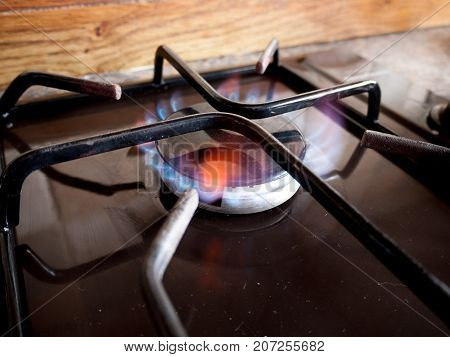 A small gas hob ring lights up with a blue flame