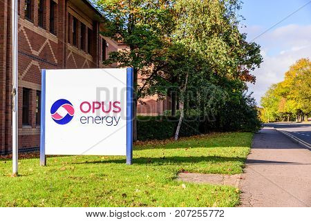 Northampton Uk October 3, 2017: Opus Energy Logo Sign Stand Northampton Industrial Estate