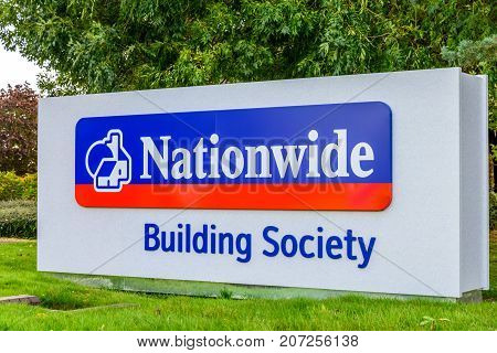 Northampton Uk October 3, 2017: Nationwide Building Society Logo Sign Stand Northampton Industrial E
