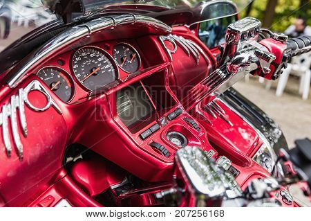 Ralsko Czech Republic - September 27 2017. Detail view of dashboard Japanese luxury cruise motorbike Honda Goldwing. Dabelske doly. Motorsport meeting in Ralsko at Devil mine