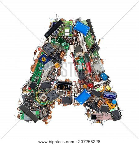Letter A Made Of Electronic Components