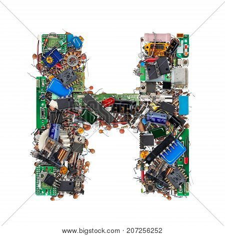 Letter H Made Of Electronic Components
