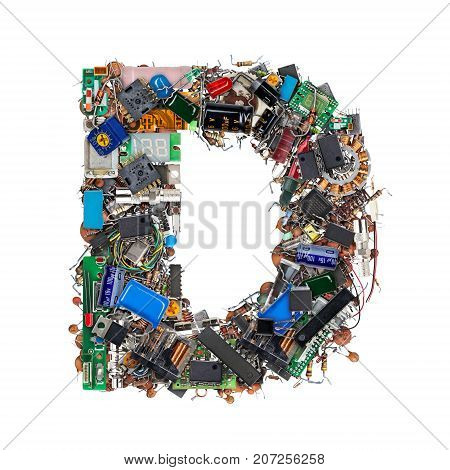 Letter D Made Of Electronic Components