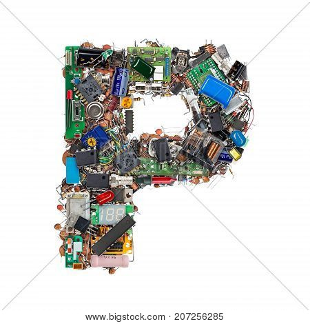 Letter P Made Of Electronic Components