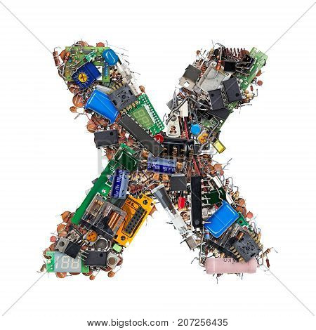 Letter X Made Of Electronic Components