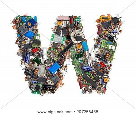 Letter W Made Of Electronic Components