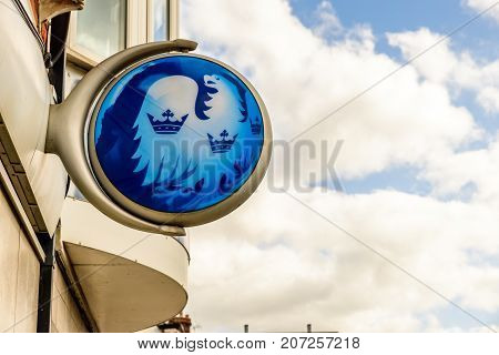 Northampton Uk October 3, 2017: Barclays Bank Logo Sign Stand Northampton Industrial Estate