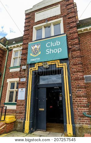 Northampton Uk October 3, 2017: Northampton Saints Rugby Club Logo At Franklin Gardens Club Shop