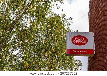 Northampton Uk October 3, 2017: Post Office Logo Sign Stand Northampton