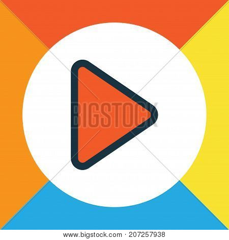 Premium Quality Isolated Begin Element In Trendy Style.  Play Colorful Outline Symbol.
