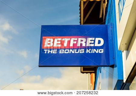 Northampton Uk October 3, 2017: Betfred Betting Logo Sign Stand Northampton Industrial Estate