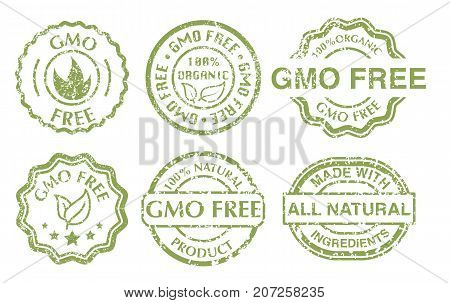 Gmo free sign. Grunge rubber green gmo free stamps set on white background. Vintage vector illustration