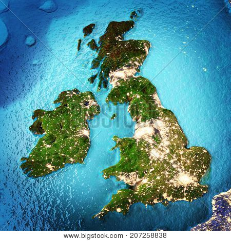 Great Britain and Ireland. Elements of this image furnished by NASA. 3D rendering