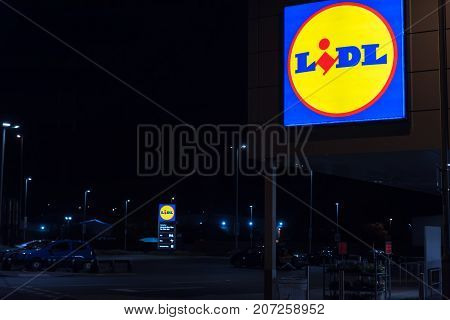 Northampton UK October 3, 2017: Lidl logo sign in Northampton town centre.