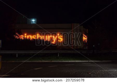 Northampton UK October 3, 2017: Sainsburys logo sign in Northampton town centre.