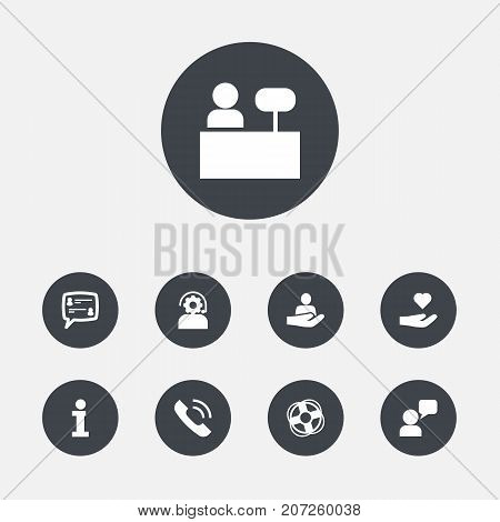 Collection Of Reception, Human, Call And Other Elements.  Set Of 9 Support Icons Set.