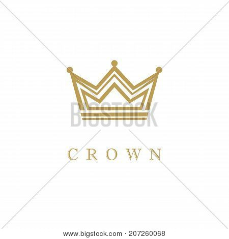 Crown icon gold emblem. Geometric line art vector design crown illustration isolated on white background