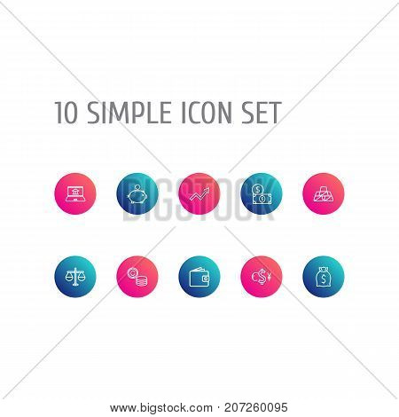 Collection Of Money Box, Exchange, Golden Bars And Other Elements.  Set Of 10 Finance Outline Icons Set.