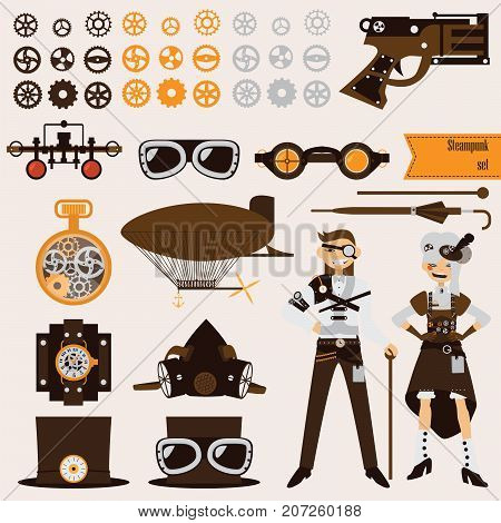 Steampunk objects and characters set. Airship and goggles gears old fashioned revolver.