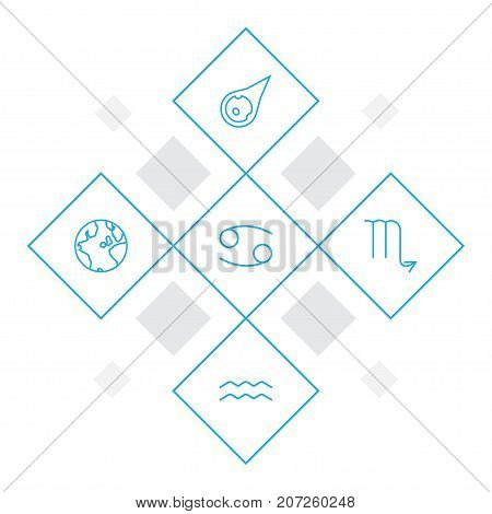 Collection Of Asteroid, Scorpion, Aqurius And Other Elements.  Set Of 5 Astrology Outline Icons Set.