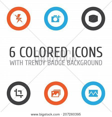 Image Icons Set. Collection Of Lightning, Photographing, Image And Other Elements