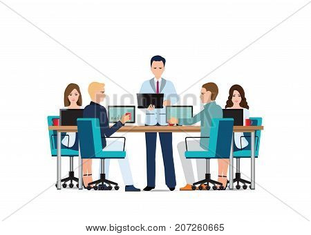 Business man presenting with laptop computer and business people sitting on presentation at office business presentation conceptual vector illustration.
