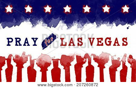pray for America. text pray for las vegas on America flag. gun control campaign