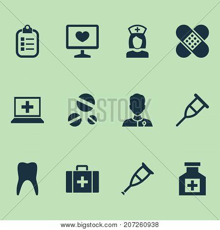 Drug Icons Set. Collection Of Dental , Healer, Bandage Elements