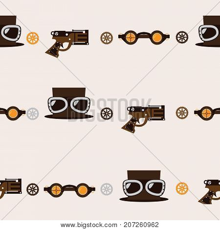 Seamless square pattern with steampunk accessories like old fashioned revolver hat with aviator glasses and goggles on beige background.