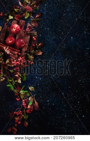 Dark floral background with little apples, autumn leaves, berries, rowan, cinnamon and ingredients for autumn hot drinks on a dark wooden table. Dark food photography with copy space.
