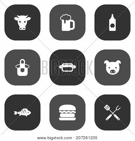 Collection Of Swine, Kitchen Uniform, Ketchup Bottle And Other Elements.  Set Of 9 Picnic Icons Set.
