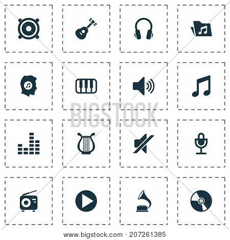Audio Icons Set. Collection Of Sound, Start, Earphone And Other Elements
