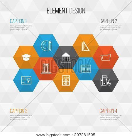 Education Icons Set. Collection Of Education Tools, Certificate, Electronic Tool And Other Elements