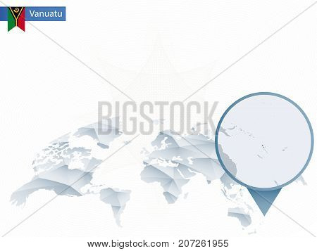 Abstract Rounded World Map With Pinned Detailed Vanuatu Map.