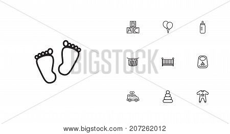 Collection Of Crib, Drum, Bottle And Other Elements.  Set Of 10 Baby Outline Icons Set.