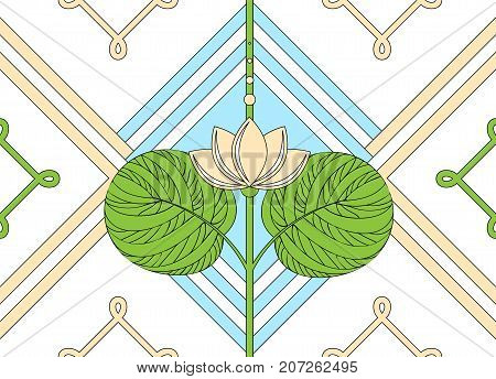 Ornament of the lotus. seamless floral pattern. Vector