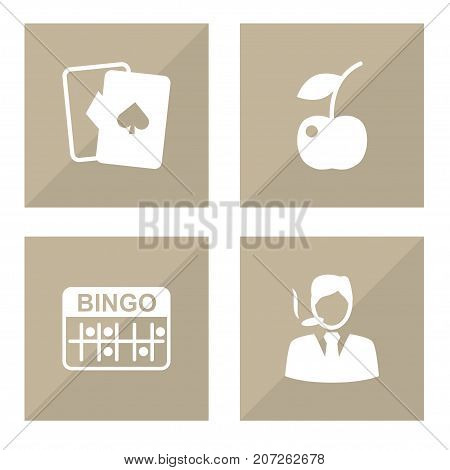 Collection Of Lotto, Playing Cards, Gentleman And Other Elements.  Set Of 4 Casino Icons Set.