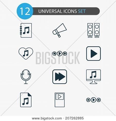 Music Icons Set. Collection Of Following Song, Loudspeaker, Document And Other Elements