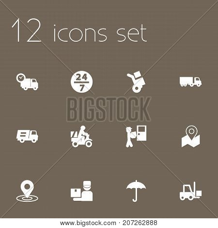 Collection Of Pinpoint, Scooter, Courier And Other Elements.  Set Of 12 Shipment Icons Set.