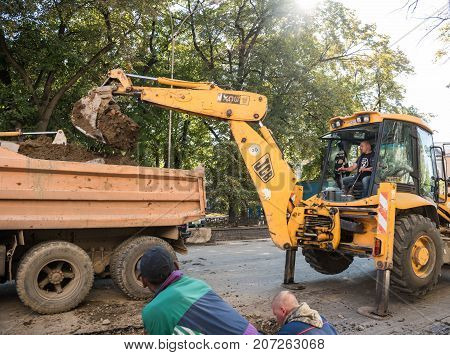 Uzhgorod,ukraine - September 28, 2017: Construction Site With Workers On The Street In Uzhgorod, Uka