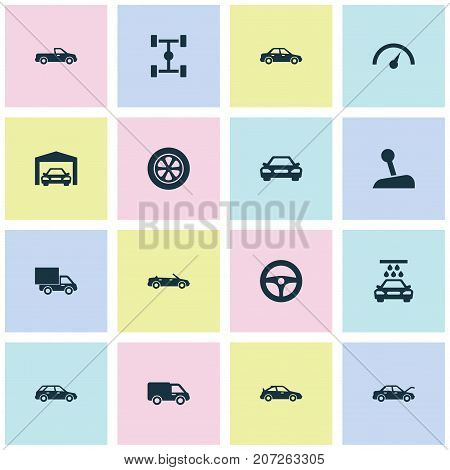 Automobile Icons Set. Collection Of Hatchback, Chronometer, Drive Control And Other Elements